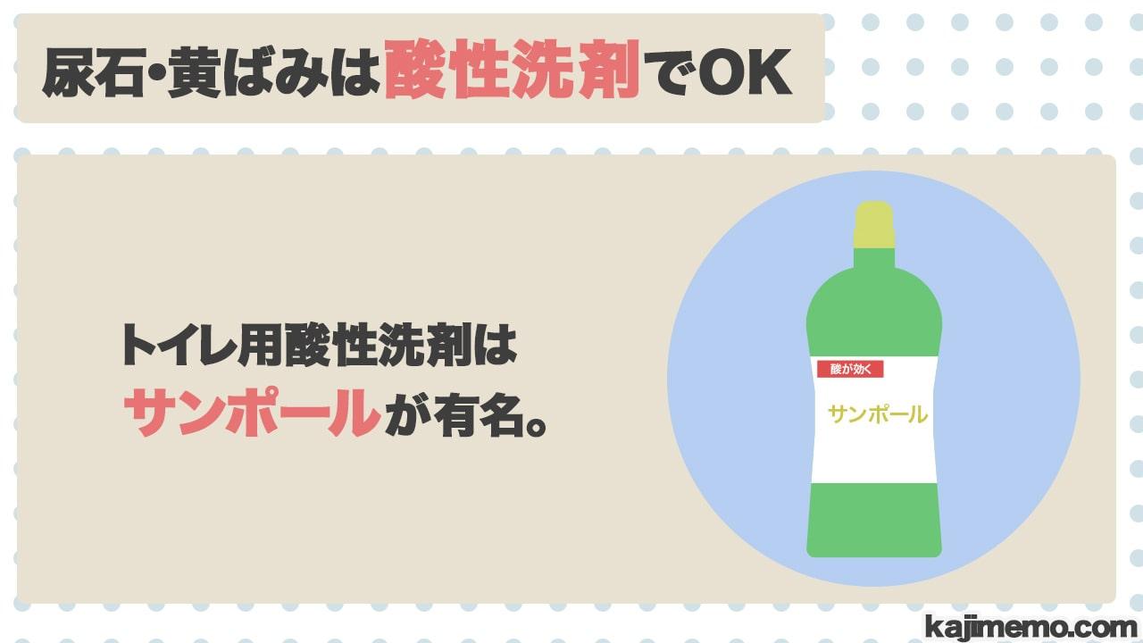 トイレの尿石・黄ばみ汚れに効く洗剤の説明